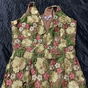 Beautiful lace floral dress the population dress.